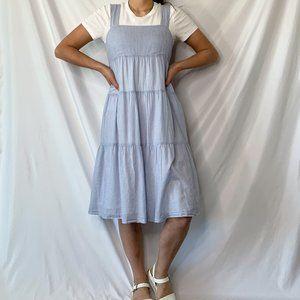 Madewell Striped Blue & White Tiered Midi Dress